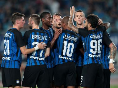 Soccer Football - Inter Milan v Olympique Lyonnais - International Champions Cup China- Nanjing, Jiangsu, China - July 24, 2017 - Players of Inter Milan celebrate a goal. REUTERS/Stringer ATTENTION EDITORS - THIS PICTURE WAS PROVIDED BY A THIRD PARTY. CHINA OUT. - RTX3CPFY
