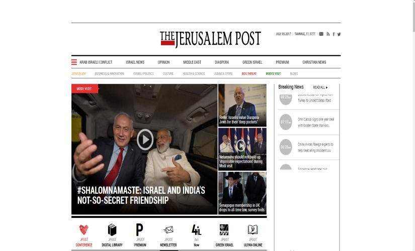 Screenshot of The Jerusalem Post's website.