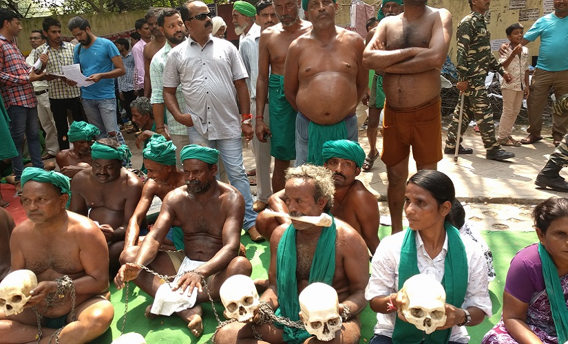 Farmers protest at Jantar Mantar in New Delhi during the Kisan Mukti Rally. Image procured by author