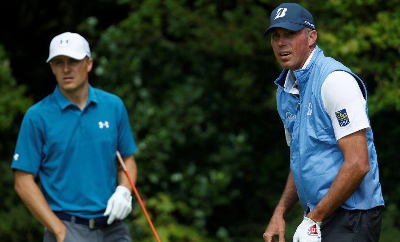 Jordan Spieth and Matt Kuchar stand on the fifth tee during the final round of The Open. Reuters