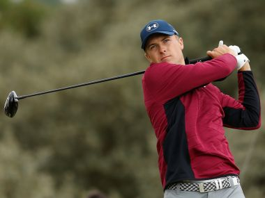 Jordan Spieth hits his tee shot on the second hole during the second round. Reuters