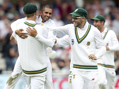 South Africa's Keshav Maharaj, celebrates taking the wicket of England's Ben Stokes with his teammates. AP