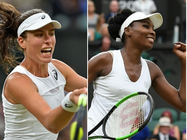 Johanna Konta (L) and Venus Williams (R). AFP