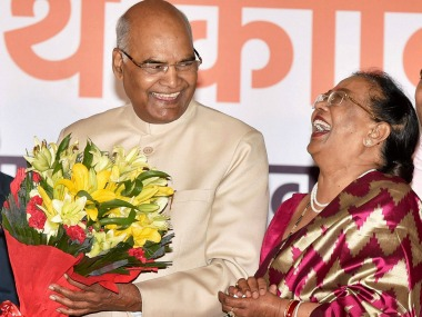 A file image of President-elect Ram Nath Kovind with his wife. PTI