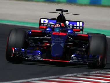 Torro Rosso's Russian driver Daniil Kvyat races during a free practice session at the Hungaroring racing circuit in Budapest on July 29, 2017 prior to the Formula One Hungarian Grand Prix. / AFP PHOTO / Peter Kohalmi