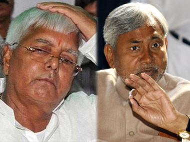 File images of Bihar grand alliance partners Nitish Kumar and Lalu Prasad Yadav. IBNLive