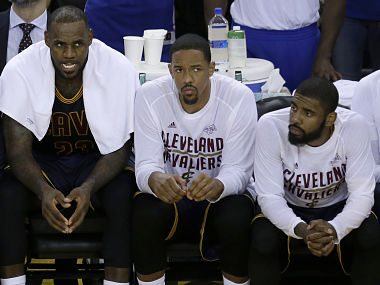 File image of Cleveland Cavaliers forward LeBron James, Tristan Thompson Kyrie Irving. AP