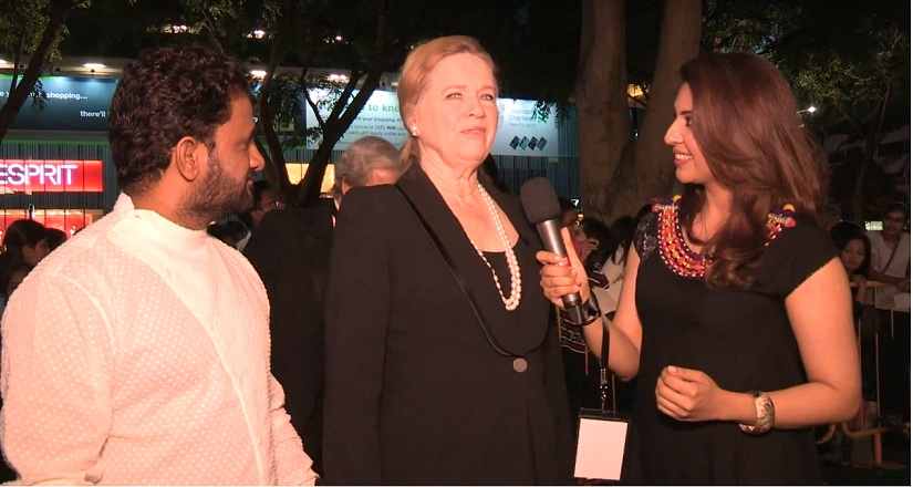 Liv Ullmann along with Resul Pookutty at IIFA Awards 2012. Screengrab from YouTube.