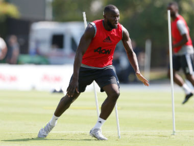 Romelu Lukaku trains ahead of Manchester United's game against LA Galaxy. AP
