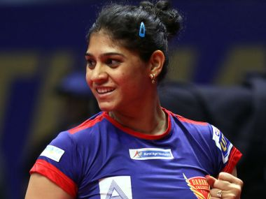Madhurika Patkar of Dabang Smashers TTC  in action. Ultimate Table Tennis