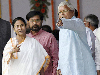 File image of Mamata Banerjee and Lalu Prasad Yadav. PTI