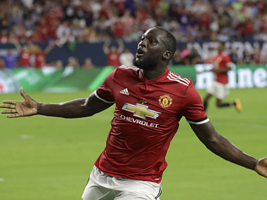 Manchester United's Romelu Lukaku reacts to scoring a goal against Manchester City during the first half of an International Champions Cup soccer match in Houston, Thursday, July 20, 2017. (AP Photo/David J. Phillip)