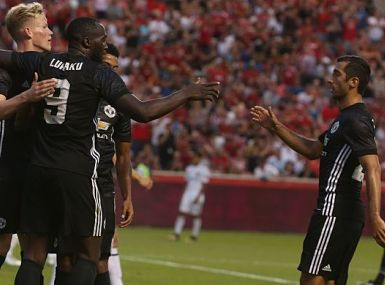 Lukaku scores his first goal for the Red Devils. Getty Images