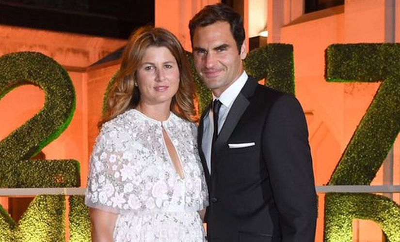 Roger Federer and his wife Mirka arrive at the Wimbledon Champions Dinner 2017. Image courtesy: Twitter/@Wimbledon