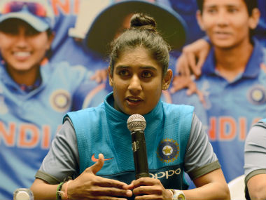 Mithali Raj addresses the media in Mumbai following the Indian team's return home from the World Cup. AFP