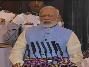 Narendra Modi at GST launch in Parliament.  Image: Lok Sabha TV
