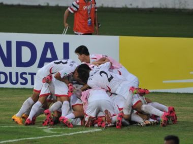 North Korean players celebrate qualifying for the U-17 World Cup. Image courtesy: AFC