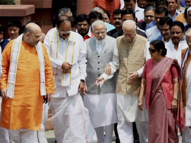 Venkaiah Naidu with other BJP leaders before the nomination process. PTI