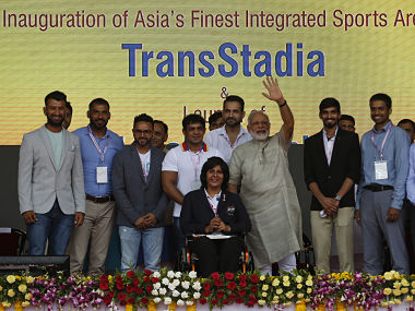 Prime Minister Narendra Modi at the inauguration of a modern sports complex in Maninagar.