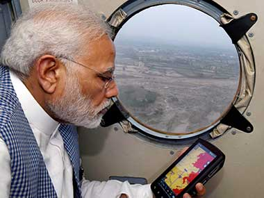 Prime minister Narendra Modi during an aerial survey of flood affected areas of Banaskatha districts of Gujarat on Tuesday. PTI