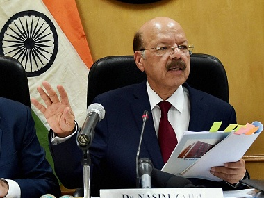 File image of Chief Election Commissioner Nasim Zaidi announcing poll schedule for five states during a press conference, in New Delhi . PTI