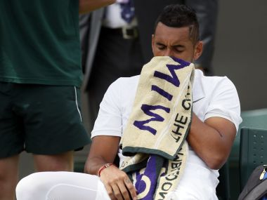 Nick Kyrgios was forced to retire against Pierre-Hugues Herbert at Wimbledon due to his hip injury. AP