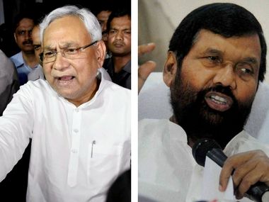 File image of Nitish Kumar and Ram Vilas Paswan. PTI