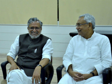 File image of Sushil Kumar Modi and Nitish Kumar. PTI