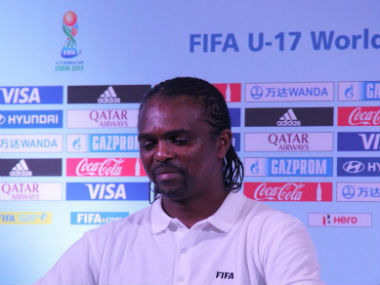 Nwankwo Kanu at the FIFA U-17 World Cup 2017 draw in Mumbai. Image courtesy: Indian football team via Twitter
