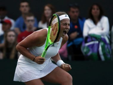 Latvia's Jelena Ostapenko celebrates at match point of her Women's Singles Match against Aliaksandra Sasnovich of Belarus on day one at the Wimbledon Tennis Championships in London Monday, July 3, 2017. (AP Photo/Alastair Grant)