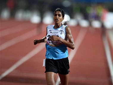 Bhubaneshwar :Sudha Singh of India wins the 3000m steeplechase during the 22nd Asian Athletic Championships at the Kalina Stadium in Bhubaneshwar on Saturday. PIT Photo by Shirish Shete(PTI7_8_2017_000159B)