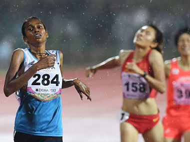 Image of PU Chitra, who has been left out of India's squad for World Athletics Championships. Twitter/@vijayanpinarayi
