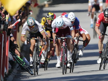 Peter Sagan of Slovakia, left, sprints as Britain's Mark Cavendish crashes. AP