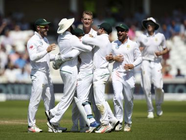 South Africa's Chris Morris celebrates with team-mates after dismissing England's Alastair Cook during day four of the Second Test cricket match at Trent Bridge, Nottingham, England, Monday July 17, 2017. (Nick Potts/PA via AP)