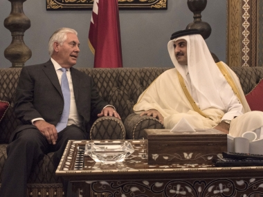 US Secretary of State Rex Tillerson met with the Emir of Qatar, Sheikh Tamim Bin Hamad Al Thani to sign the MoU. AP