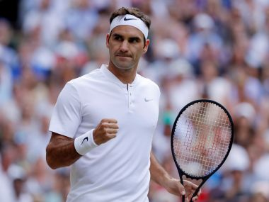 Roger Federer celebrates during the third round match against Mischa Zverev at Wimbledon. Reuters