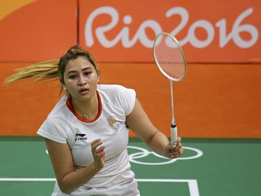 2016 Rio Olympics - Badminton - Women's Doubles Group Play - Riocentro - Pavilion 4 - Rio de Janeiro, Brazil - 12/08/2016. Jwala Gutta (IND) of India plays with Ashwini Ponnappa (IND) of India against Eefje Muskens (NED) of Netherlands and Selena Piek (NED) of Netherlands. REUTERS/Marcelo del Pozo FOR EDITORIAL USE ONLY. NOT FOR SALE FOR MARKETING OR ADVERTISING CAMPAIGNS. - RTSMX8T