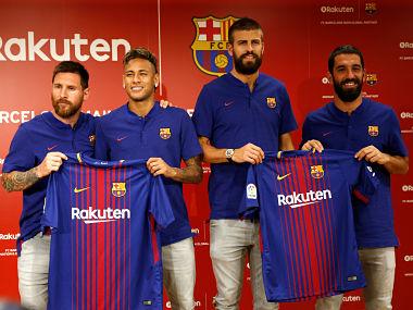 FC Barcelona players (L-R) Lionel Messi , Neymar, Gerard Pique and Arda Turan REUTERS