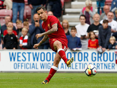 Soccer Football - Wigan Athletic vs Liverpool - Pre Season Friendly - Wigan, Britain - July 14, 2017 Liverpool's Philippe Coutinho warms up before the match Action Images via Reuters/Craig Brough - RTX3BIFO