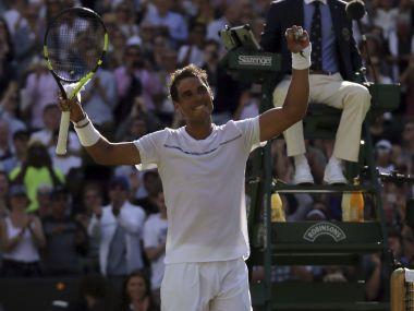 Rafael Nadal celebrates after winning his match against John Millman. AP