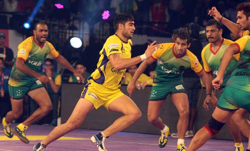 An image from a match between Telugu Titans and Patna Pirates in Pro Kabaddi League. PKL