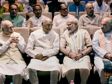Presidential candidate Ram Nath Kovind with Prime Minister Narendra Modi, BJP president Amit Shah and senior BJP leader LK Advani at NDA meeting in New Delhi on Sunday. PTI