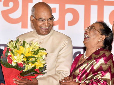 Ram Nath Kovind along with his wife Savita accepting greetings on being elected as the 14th President of India, in New Delhi on Thursday. PTI