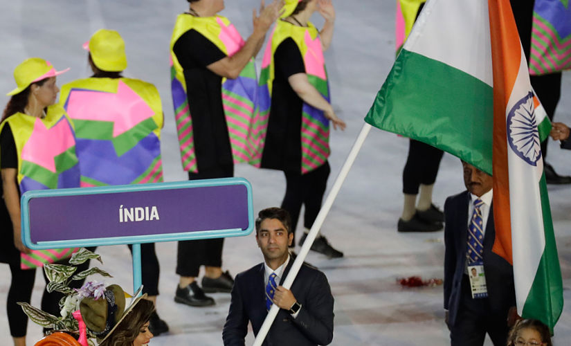 Abhinav Bindra, the flagbearer for the Indian contingent at the Rio Olympics. AP