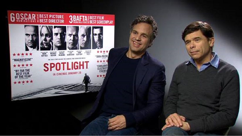 Michael Rezendes (right, in both pics) with Mark Ruffalo (left) who played him on screen in the Oscar-winning film Spotlight