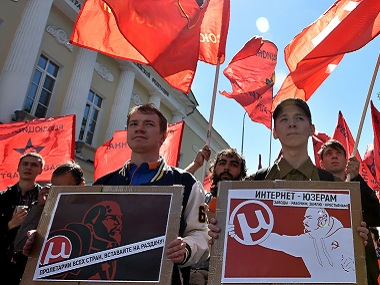 Russians march for free internet in Moscow. AFP