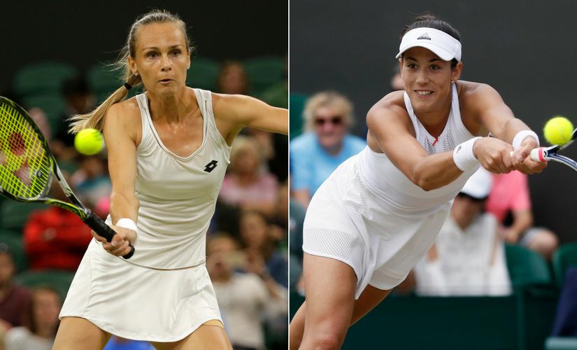 Magdalena Rybarikova, left, will play in her first Grand Slam semi-final against former French Open champion Garbine Muguruza. AP