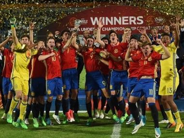 Spain's U-17 World Cup team celebrate their victory in the UEFA U-17 Championship. Image courtesy: UEFA