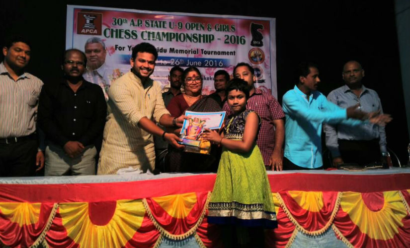 Sahithi as the under-9 state champion of Andhra Pradesh.
