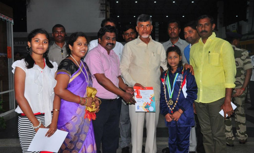 Andhra Pradesh CM Chandra Babu Naidu recognising the achievements of Sahithi after the Asian Youth Championships 2017.